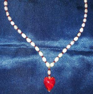 Jewelry - Red Swarovski Crystal/Pearl Heart Necklace